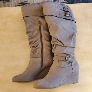 Gray Slouchy Wedge Boots